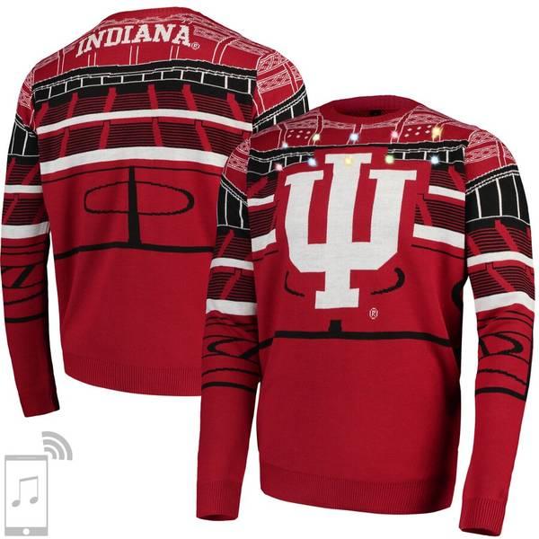 フォコ メンズ シャツ トップス Indiana Hoosiers College Bluetooth Light Up Sweater Crimson