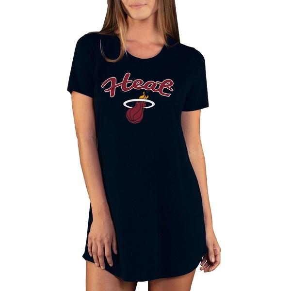 コンセプトスポーツ レディース ワンピース トップス Miami Heat Concepts Sport Women's Marathon Knit Nightshirt Black