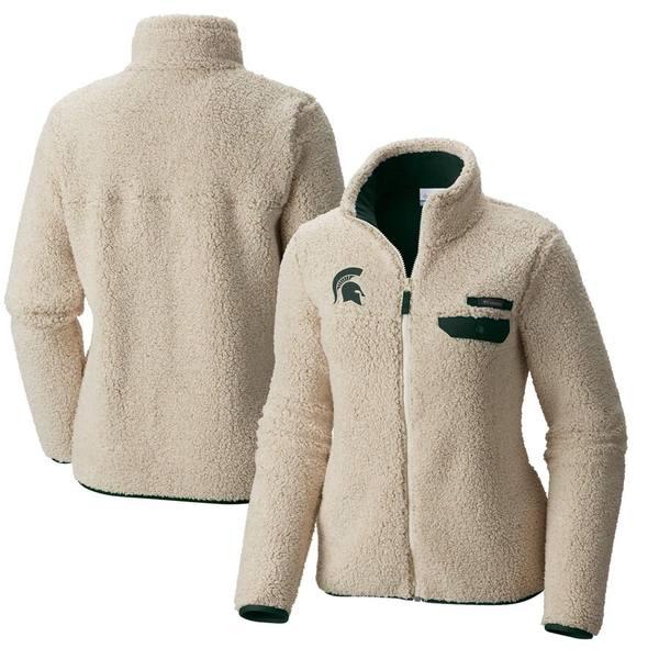 コロンビア レディース ジャケット&ブルゾン アウター Michigan State Spartans Columbia Women's Mountain Side Sherpa Fleece Full-Zip Jacket Cream