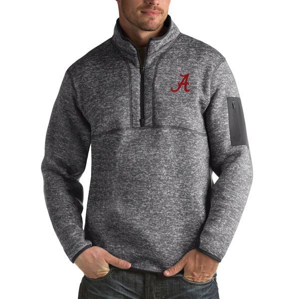 アンティグア メンズ ジャケット&ブルゾン アウター Alabama Crimson Tide Antigua Fortune Big & Tall Quarter-Zip Pullover Jacket Charcoal
