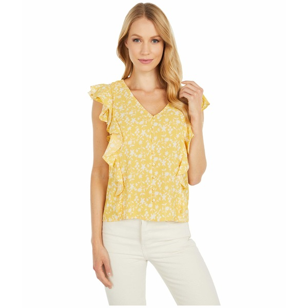 ビービーダコタ レディース シャツ トップス All The Frills 'Shadow Floral' Print Bubble Crepe Top Lemon Drop