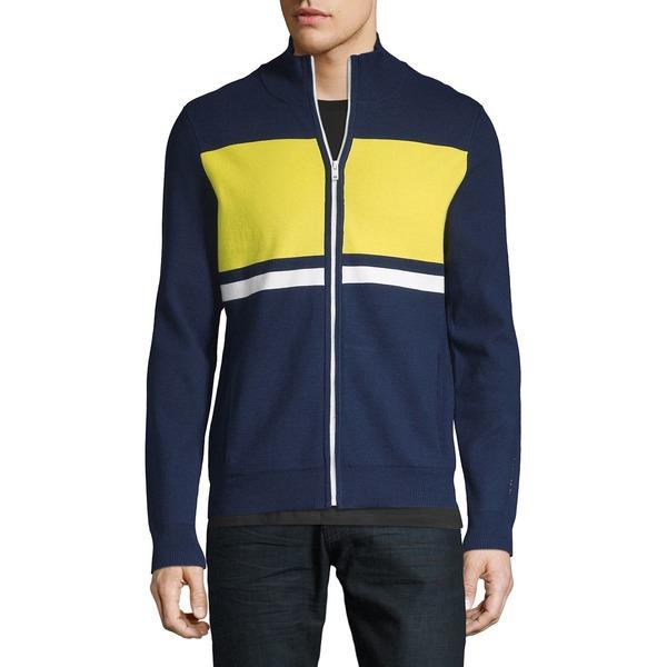 カルバンクライン メンズ ニット&セーター アウター Mockneck Blocked Stripe Zip Sweater Citrus Blue