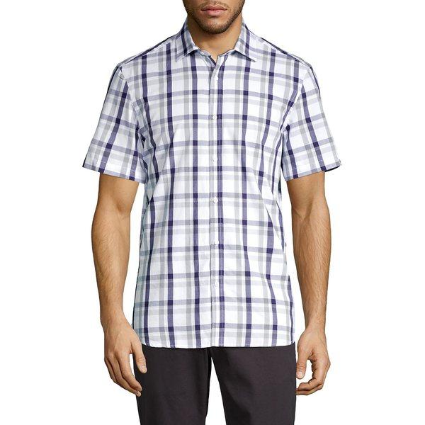 ブラック・ブラウン1826 メンズ シャツ トップス Short-Sleeve Plaid Shirt Soft Navy