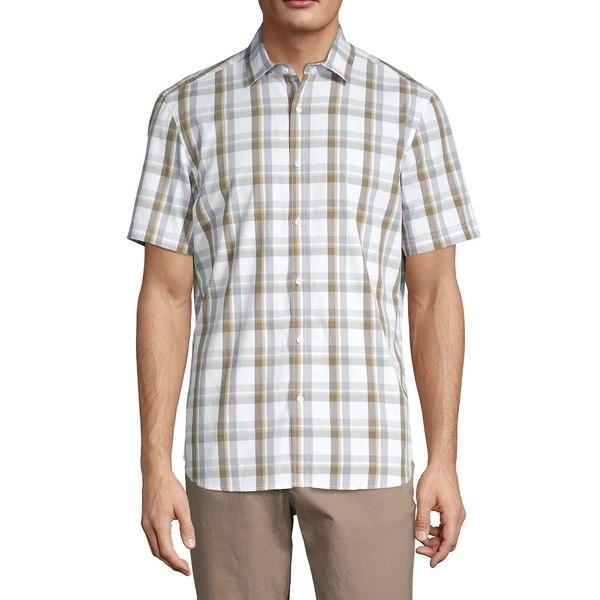 ブラック・ブラウン1826 メンズ シャツ トップス Short-Sleeve Plaid Shirt Deep Olive