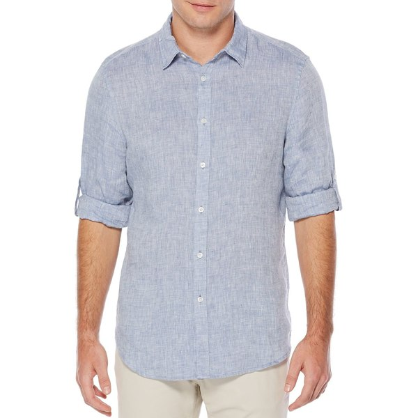 ペリーエリス メンズ シャツ トップス Textured Rolled-Sleeve Linen Shirt Colony Blue