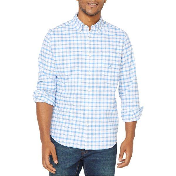 ナウティカ メンズ シャツ トップス Classic-Fit Plaid-Print Oxford Shirt Light French Blue