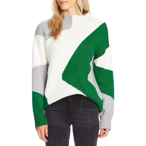 ヴィンスカムート レディース ニット&セーター アウター Mockneck Cotton-Blend Sweater Everglade