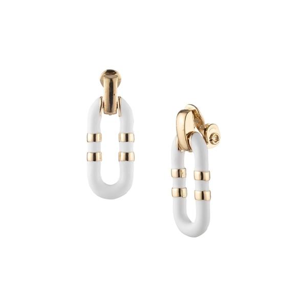 ラルフローレン レディース ピアス&イヤリング アクセサリー Goldtone Link Drop Earrings White