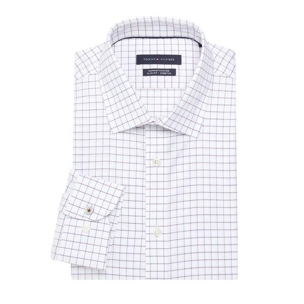 トミー ヒルフィガー メンズ シャツ トップス Checkered-Print Dress Shirt Deep Plum