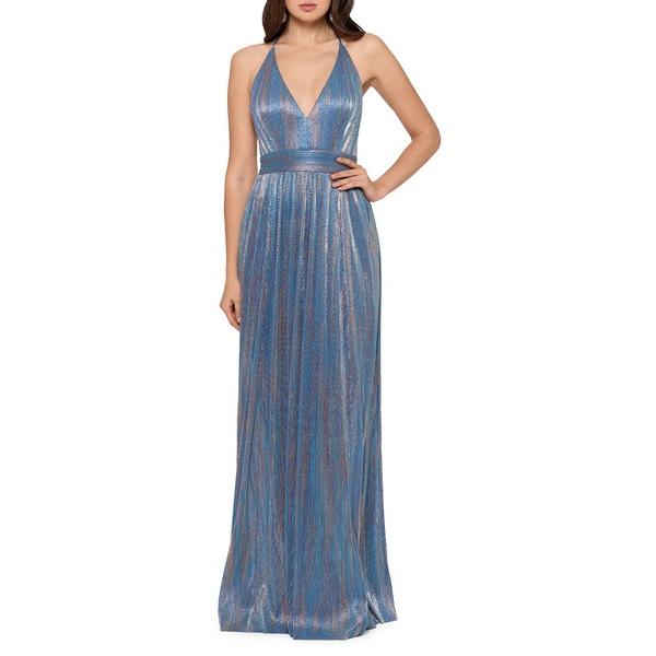 エスケープ レディース ワンピース トップス Striped Open-Back Gown Rose Blue