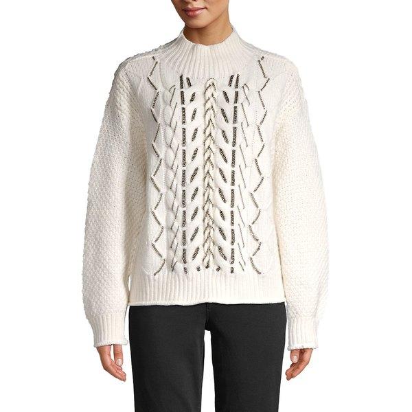 ヴィンスカムート レディース ニット&セーター アウター Cable Stitch Chain-Trim Sweater Antique White