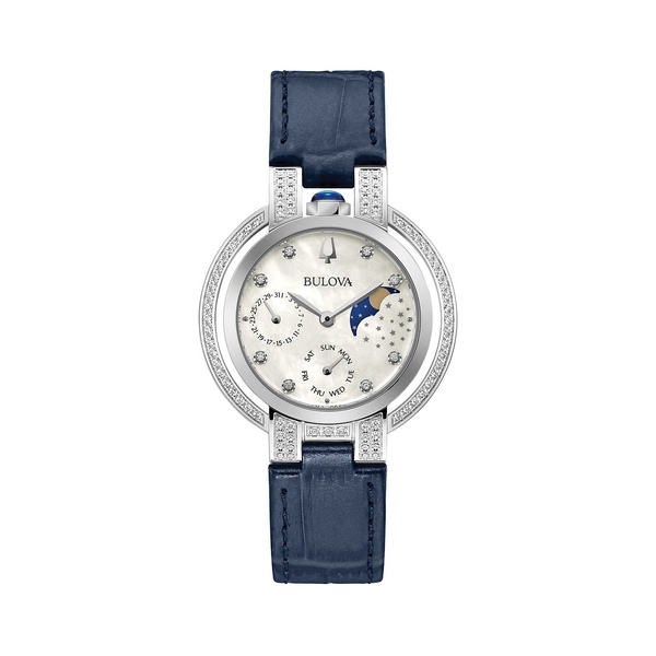 ブロバ レディース 腕時計 アクセサリー Rubaiyat Stainless Steel, Leather-Strap & Diamond Watch Blue