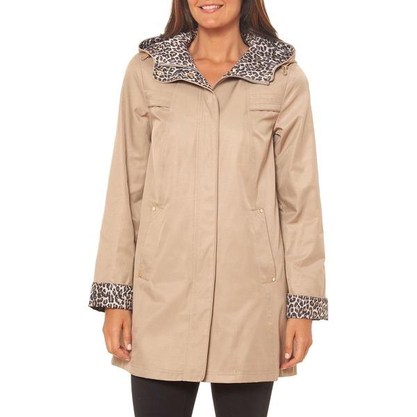 ジョーンズニューヨーク レディース コート アウター Contrast Leopard-Print Cotton-Blend Hooded Jacket Desert Tan