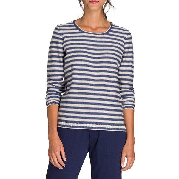 オルセン レディース ニット&セーター アウター Utility Chic Striped Crewneck Sweater Indigo