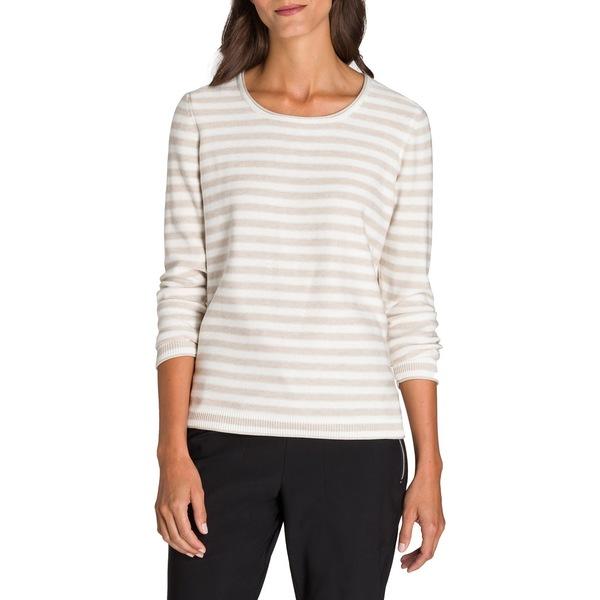 オルセン レディース ニット&セーター アウター Utility Chic Striped Crewneck Sweater Off White