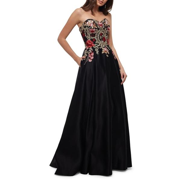 ブロンディナイト レディース ワンピース トップス Floral Embroidered Satin Ball Gown Black Multi