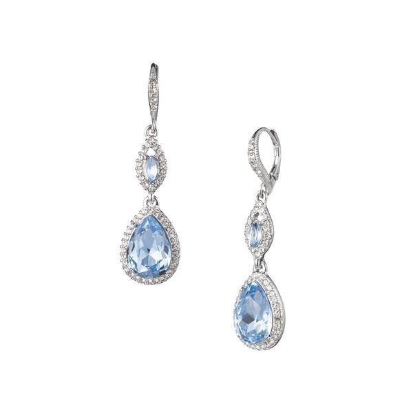 ジバンシー レディース ピアス&イヤリング アクセサリー Rhodium-Plated & Crystal Double Drop Earrings Silver