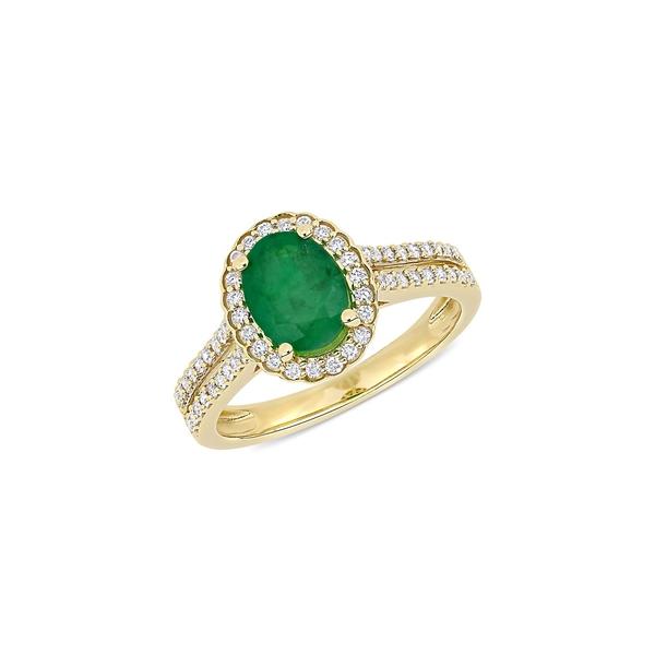 ソナティナ レディース リング アクセサリー 14K Yellow Gold, Emerald & 0.33 TCW Diamond Engagement Ring Emerald