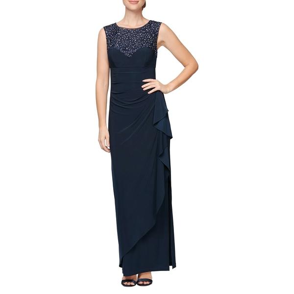 アレックスイブニングス レディース ワンピース トップス Embroidered Lace Long Dress Navy