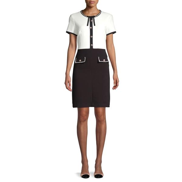 カールラガーフェルド レディース ワンピース トップス Short-Sleeve Sheath Dress Black Soft White