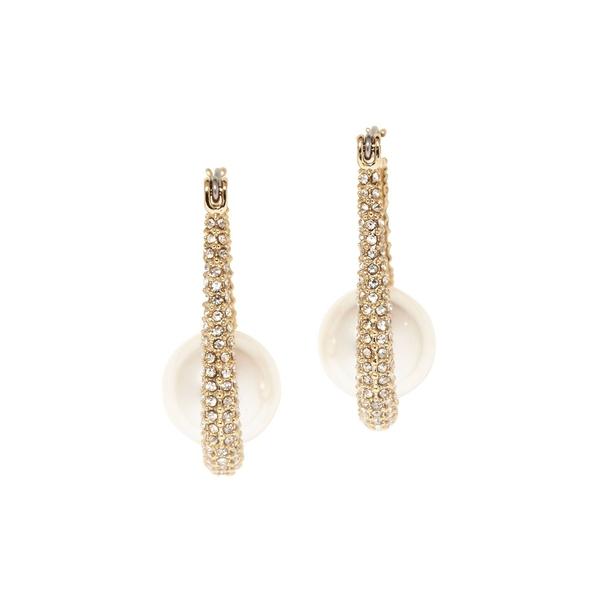 ヴィンスカムート レディース ピアス&イヤリング アクセサリー Goldtone, Glass Stone and Faux Pearl Pave Hoop Earrings Gold