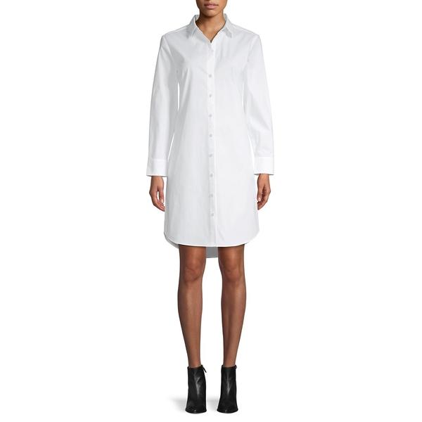 アイザック ミズラヒ レディース ワンピース トップス Classic Stretch-Cotton Shirtdress White