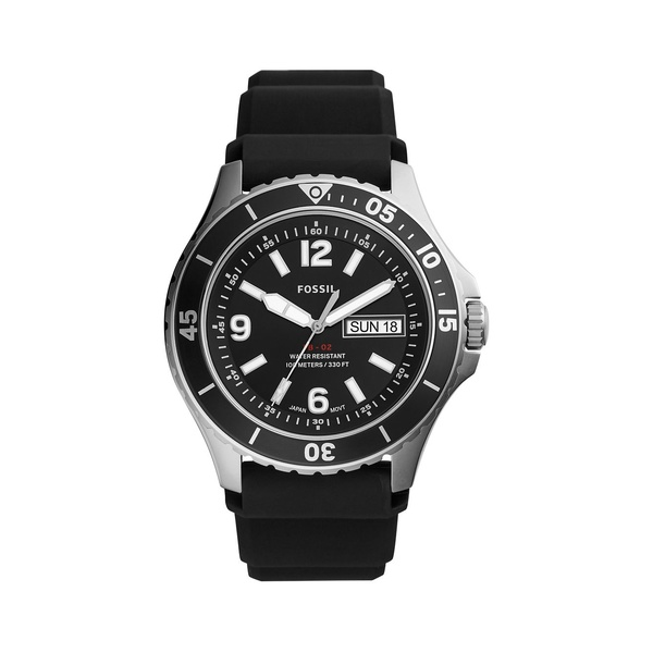 フォッシル メンズ 腕時計 アクセサリー FB-02 Stainless Steel & Black Silicone-Strap 3-Hand Watch Black