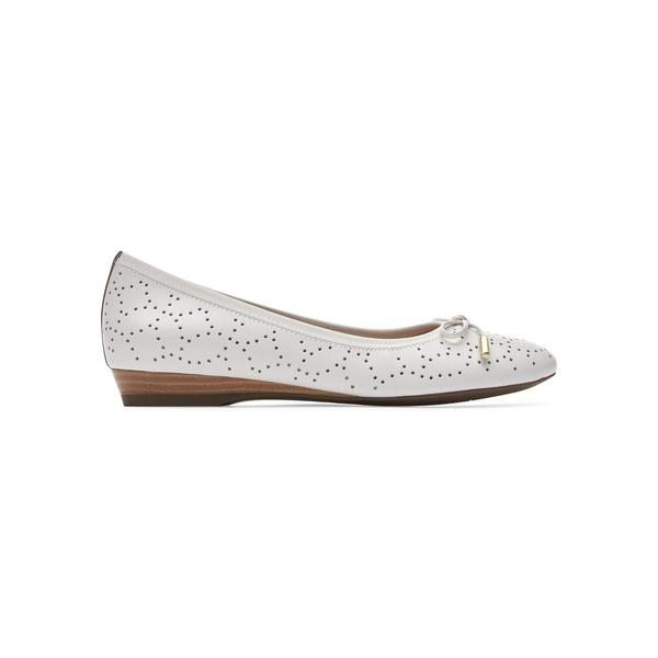 ロックポート レディース サンダル シューズ Total Motion Shea Perforated Leather Ballet Flats White