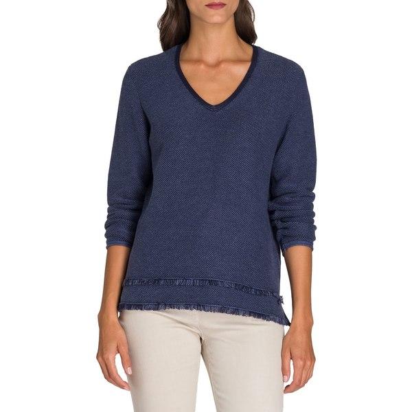 オルセン レディース ニット&セーター アウター Utility Chic V-Neck Fringe Sweater Indigo