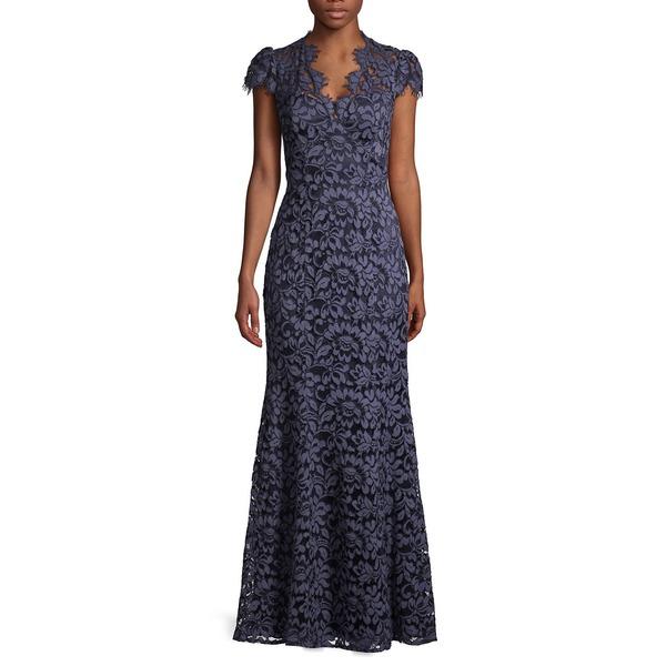 エリザジェイ レディース ワンピース トップス Floral Lace Gown Navy