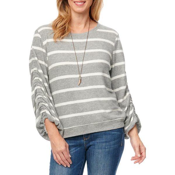 デモクラシー レディース ニット&セーター アウター Striped Ruched-Sleeve Sweater Grey White