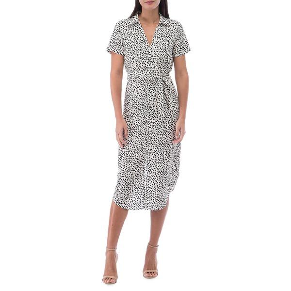 ビーコレクションバイボビュー レディース ワンピース トップス Larson Pebble-Print Shirtdress Pebble Ivory