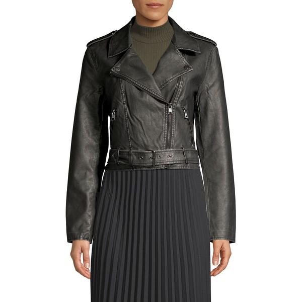 オンリー レディース コート アウター Cropped Faux Leather Biker Jacket Black