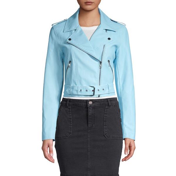 オンリー レディース コート アウター Cropped Faux Leather Biker Jacket Cashmere Blue
