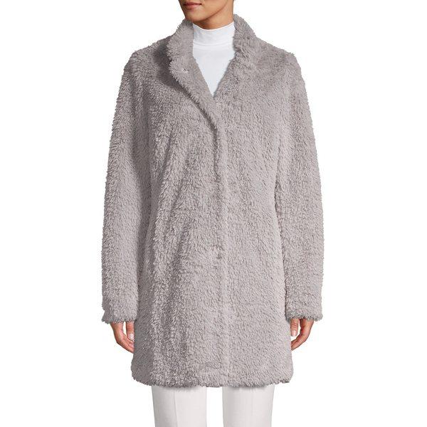 ケネスコール レディース コート アウター Faux-Fur Teddy Coat Light Silver