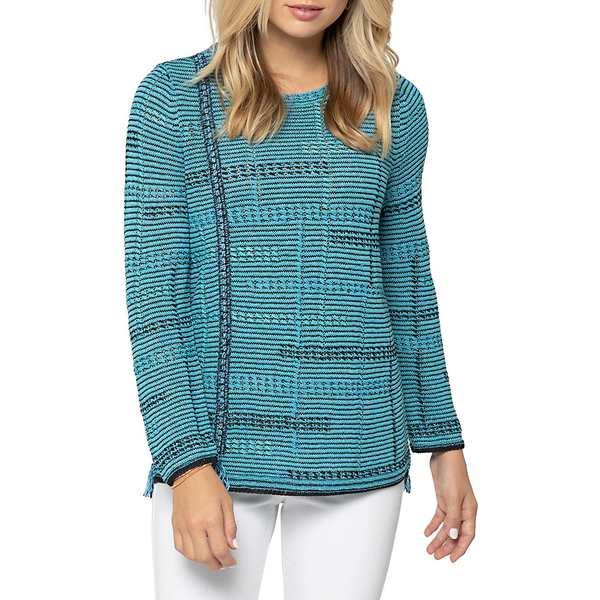 ニックプラスゾーイ レディース ニット&セーター アウター Line Of Work Cotton-blend Sweater Turquoise