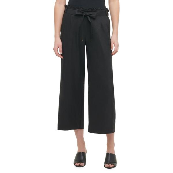 カルバンクライン レディース カジュアルパンツ ボトムス Belted Linen-Blend Paperbag Pants Black