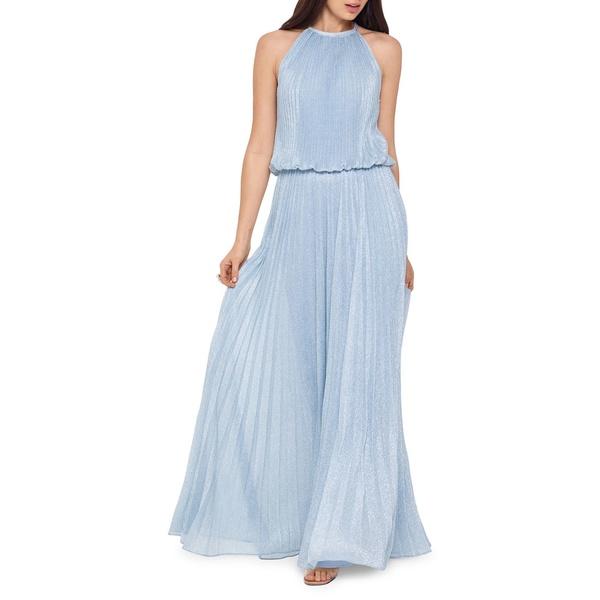 エスケープ レディース ワンピース トップス Metallic Pleated Gown Blue