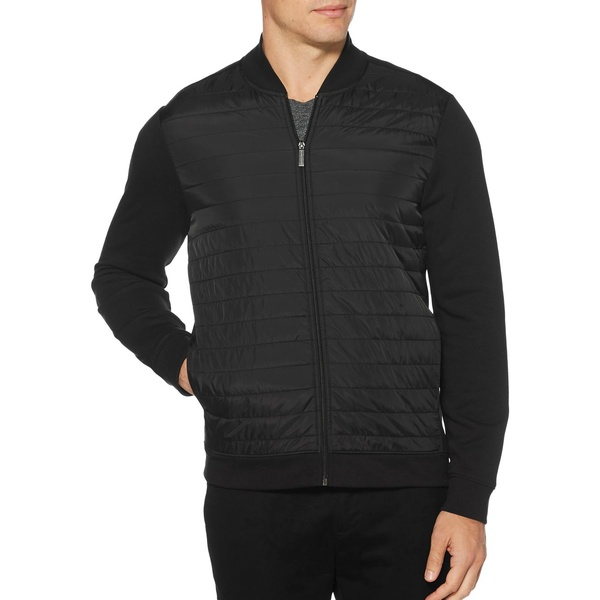 ペリーエリス メンズ ジャケット&ブルゾン アウター Quilted Mixed-Media Full Zip Jacket Black