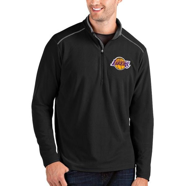 アンティグア メンズ ジャケット&ブルゾン アウター Los Angeles Lakers Antigua Glacier Quarter-Zip Pullover Jacket Black/Gray