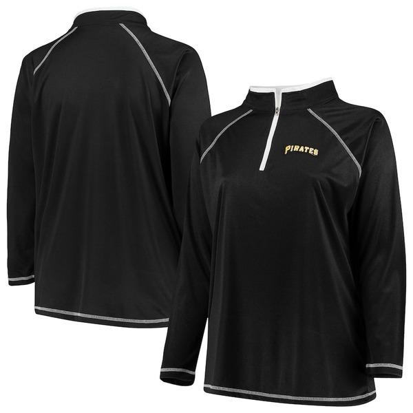 マジェスティック レディース ジャケット&ブルゾン アウター Pittsburgh Pirates Majestic Women's Plus Size Quarter-Zip Pullover Jacket Black