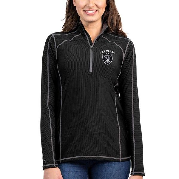 アンティグア レディース ジャケット&ブルゾン アウター Las Vegas Raiders Antigua Women's Tempo Quarter-Zip Pullover Jacket Black/Steel