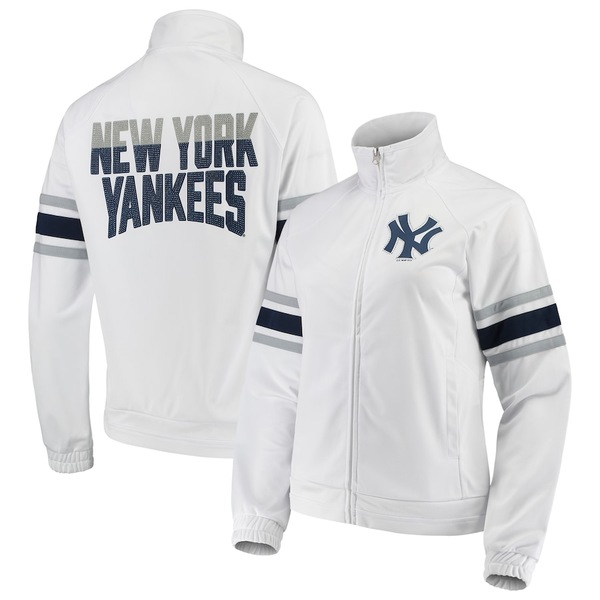 カールバンクス レディース ジャケット&ブルゾン アウター New York Yankees G-III 4Her by Carl Banks Women's Game Score Full-Zip Track Jacket White