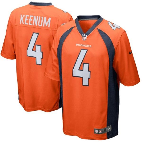 ナイキ メンズ シャツ トップス Case Keenum Denver Broncos Nike Game Jersey Orange