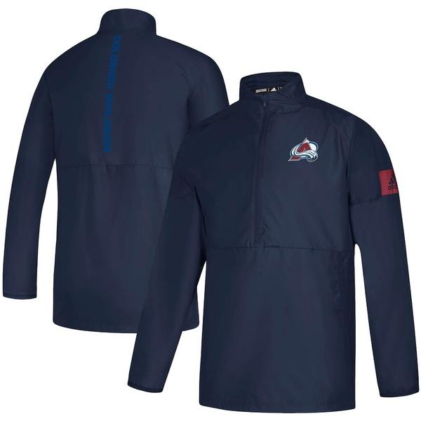 アディダス メンズ ジャケット&ブルゾン アウター Colorado Avalanche adidas Game Mode Quarter-Zip Jacket Navy