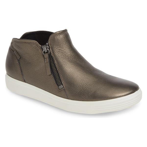 エコー レディース スニーカー シューズ ECCO Soft 7 High Top Sneaker (Women) Black Stone Metallic Leather