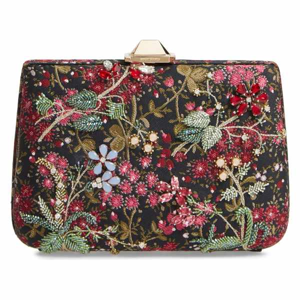 ジャンバティスタ ヴァリ レディース クラッチバッグ バッグ Giambattista Valli Embellished Floral Brocade Clutch Black