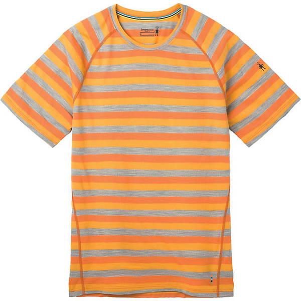 スマートウール メンズ フィットネス スポーツ Smartwool Men's Merino 150 Baselayer SS Top Atomic Orange Stripe