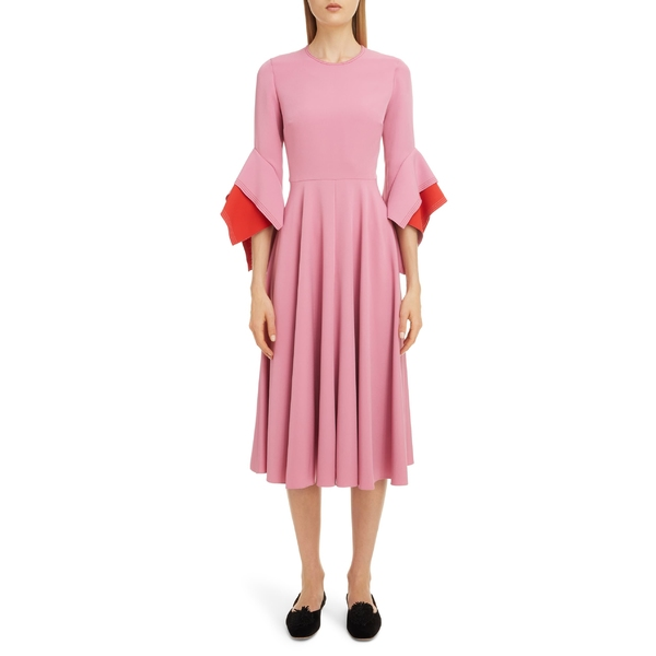 ロクサンダ レディース ワンピース トップス Roksanda Flutter Sleeve Midi Dress Orchid/ Orchid-Crimson