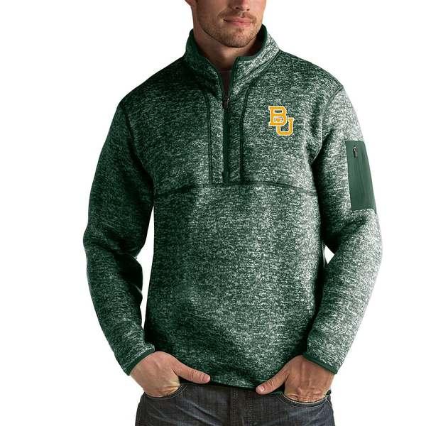 アンティグア メンズ アウター ニットセーター Baylor Bears 最新 Pullover Quarter-Zip 全商品無料サイズ交換 Fortune ギフ_包装 NCAA Green